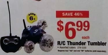 Menards Black Friday: R/C Thunder Tumbler for $6.99