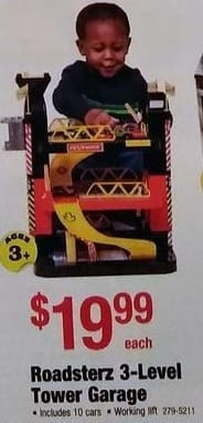 Menards Black Friday: Roadsterz 3-Level Tower Garage with 10 Cars for $19.99