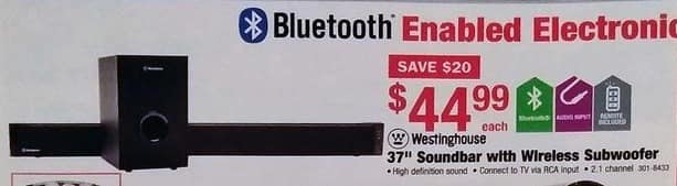 "Menards Black Friday: Westinghouse 37"" 2.1 Channel Soundbar with Wireless Subwoofer for $44.99"