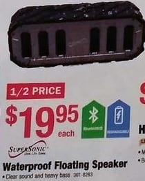 Menards Black Friday: SuperSonic Waterproof Floating Speaker for $19.95