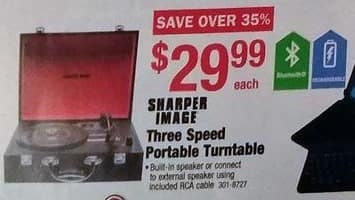 Menards Black Friday: Sharper Image Three Speed Portable Turntable for $29.99