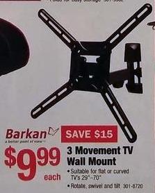 "Menards Black Friday: Barkan 3 Movement TV Wall Mount for TVs 29""-70"" for $9.99"