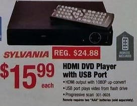 Menards Black Friday: Sylvania HDMI DVD Player with USB Port for $15.99
