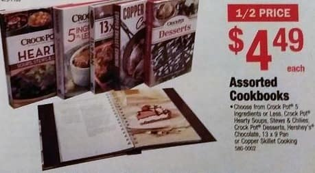 Menards Black Friday: Cookbooks: Crock Pot 5 Ingredients or Less, Hershey's Chocolate, Crock Pot Desserts and More for $4.49