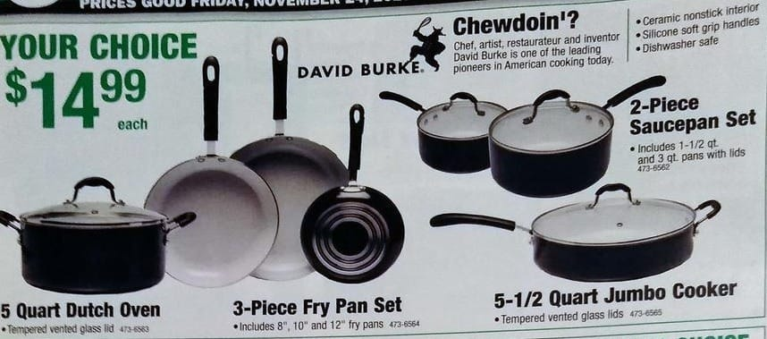 Menards Black Friday: David Burke 3-Piece Fry Pan Set for $14.99