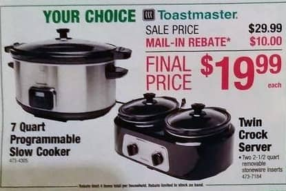 Menards Black Friday: Toastmaster Twin Crock Server for $19.99 after $10 rebate