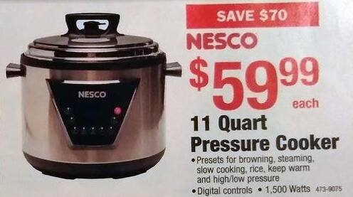 Menards Black Friday: Nesco 11 Quart Pressure Cooker for $59.99