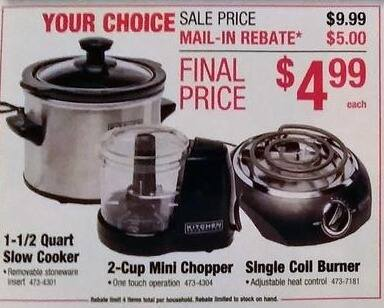 Menards Black Friday: 1-1/2 Quart Slow Cooker for $4.99 after $5 rebate