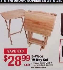 Menards Black Friday: 5-Piece Solid Wood TV Tray Set for $28.99