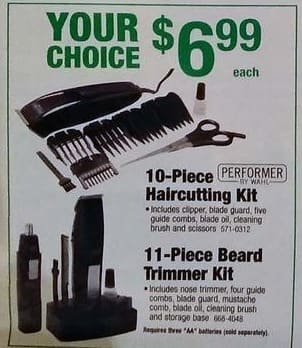 Menards Black Friday: Performer by Wahl 10-pc Hair Cutting Kit or 11-pc Beard Trimmer Kit for $6.99