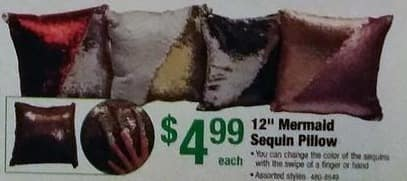"Menards Black Friday: 12"" Mermaid Sequin Pillow, Assorted Styles for $4.99"