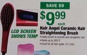 Menards Black Friday: Hair Angel Ceramic Hair Straightening Brush for $9.99