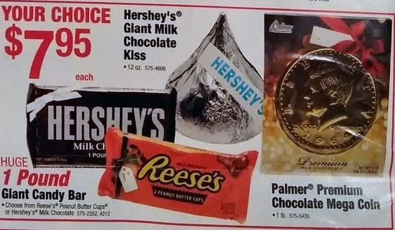 Menards Black Friday: Hershey's Giant Chocolate Kiss, 1 lb Candy Bar or Palmer Premium Chocolate Mega Coin for $7.95