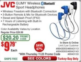 Frys Black Friday: JVC Gumy Wireless Bluetooth Sport Headphones for $9.79