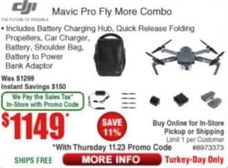 Frys Black Friday: DJI Mavic Pro Fly More Combo for $1,149.00