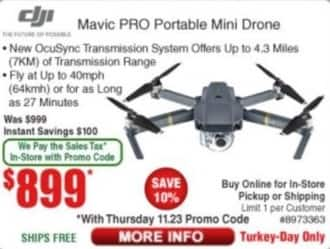 Frys Black Friday: DJI Mavic Pro Portable Mini Drone for $899.00