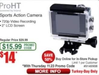 Frys Black Friday: ProHT Sports Action Camera for $14.00