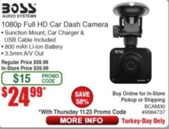 Frys Black Friday: Boss 1080p Full HD Car Dash Camera for $24.99