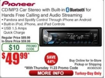 Frys Black Friday: Pioneer CD/MP3 Car Stereo with Built-In Bluetooth for $49.99