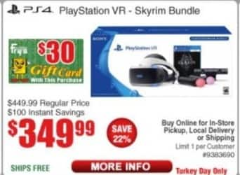 Frys Black Friday: Playstation VR Skyrim Bundle (PS4) + $30 Fry's Gift Card for $349.99