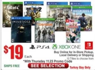 Frys Black Friday: Select Xbox or PS4 Games: Fallout 4, Injutice 2, Dragon Ball Xenover 2 and More for $19.00