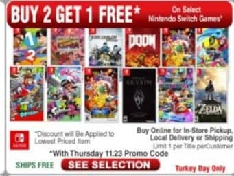 Frys Black Friday: Select Nintendo Switch Games: Doom,  Legend Of Zelda: Breath Of The Wild, Splatoon 2 and More - B2G3rd Free