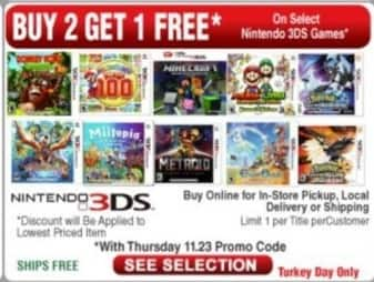 Frys Black Friday: Select Nintendo 3DS Games: New Super Mario Bros. 2, Pokemon Moon, Minecraft and More - B2G3rd Free