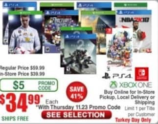 Frys Black Friday: Select PS4 and Xbox One Games: Destiny 2, NBA 2K18, FIFA 18,  Assassin's Creed Origins and More for $34.99