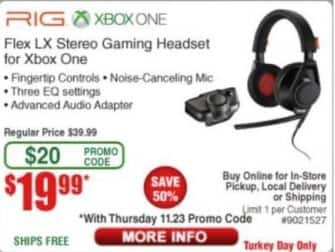 Frys Black Friday: Plantronics RIG Flex LX Stereo Gaming Headset for Xbox One for $19.99