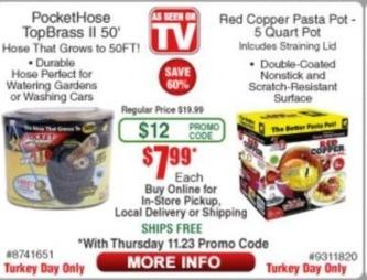Frys Black Friday: PocketHose 50' TopBrass II Hose or Red Copper 5 Quart Pasta Pot for $7.99