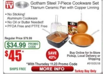 Frys Black Friday: Gotham Steel 7-Piece Cookware Set for $45.00