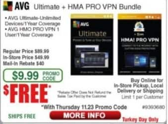 Frys Black Friday: AVG Ultimate + HMA Pro VPN Bundle for Free after $40 rebate