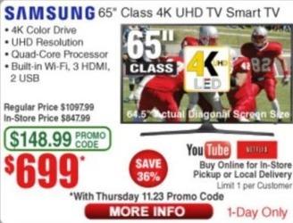 "Frys Black Friday: 65"" Samsung UN65MU6290FXZA 4K UHD Smart TV for $699.00"