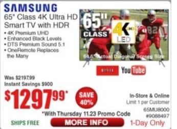 "Frys Black Friday: 65"" Samsung UN65MU8000FXZA 4K Ultra HD HDR Smart TV for $1,297.99"