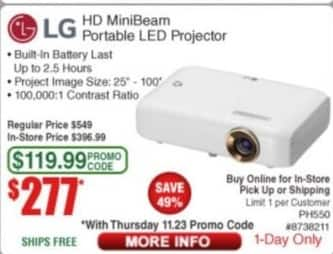 Frys Black Friday: LG HD MiniBeam Portable LED Projector for $277.00