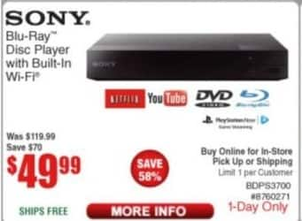Frys Black Friday: Sony BDPS3700 Blu-Ray Player with Built In WiFi for $49.99