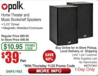 Frys Black Friday: Polk Home Theater and Music Bookshelf Speakers for $39.00