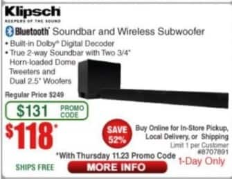 Frys Black Friday: Klipsch Bluetooth Soundbar and Wireless Subwoofer for $118.00