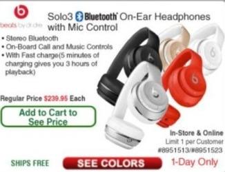 Frys Black Friday: Beats Solo3 On-Ear Wireless Bluetooth Headphones with Mic Control - TBA