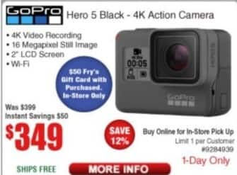 Frys Black Friday: GoPro Hero 5 Black 4K Action Camera for $349.00