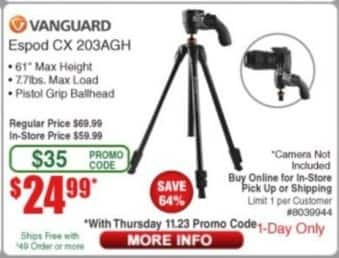 Frys Black Friday: Vanguard Espod CX 203AGH Tripod for $24.99