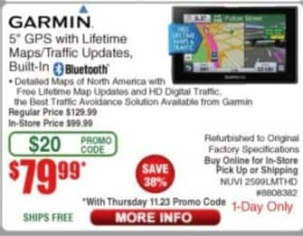 "Frys Black Friday: Garmin NUVI 2599LMTHD NOH 5"" GPS with Lifetime Maps/Traffic Updates and Bluetooth (Refurbished) for $79.99"