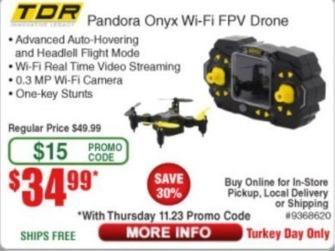 Frys Black Friday: TDR Pandora Onyx Wi-Fi FPV Drone for $34.99