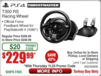 Frys Black Friday: Thrustmaster T300 RS Racing Wheel, PS4 for $229.99