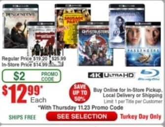 Frys Black Friday: 4K UHD Blu-Rays:  Sausage Party, Magnificent Seven,  Ghostbusters, Passengers, Underworld: Blood Wars or Resident Evil: The Final Chapter for $12.99