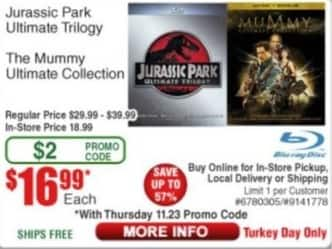 Frys Black Friday: Blu-Ray Movies: Jurassic Park Ultimate Trilogy or The Mummy Ultimate Collection for $16.99