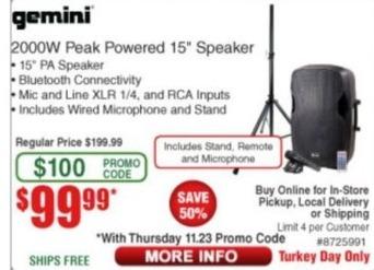 """Frys Black Friday: Gemini 2000W Peak Powered 15"""" Speaker for $99.99"""