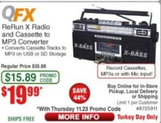 Frys Black Friday: QFX ReRun X Radio and Cassette to MP3 Converter for $19.99