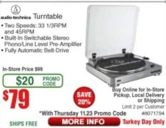 Frys Black Friday: Audio-Technica Turntable for $79.00