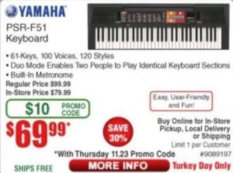 Frys Black Friday: Yamaha PSR-F51 Keyboard for $69.99